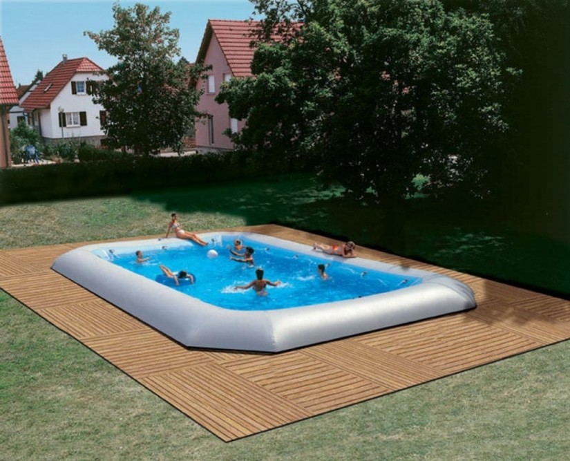 Partially Above Ground Pool | Above Ground Inground Pools | Semi Inground Pool Ideas