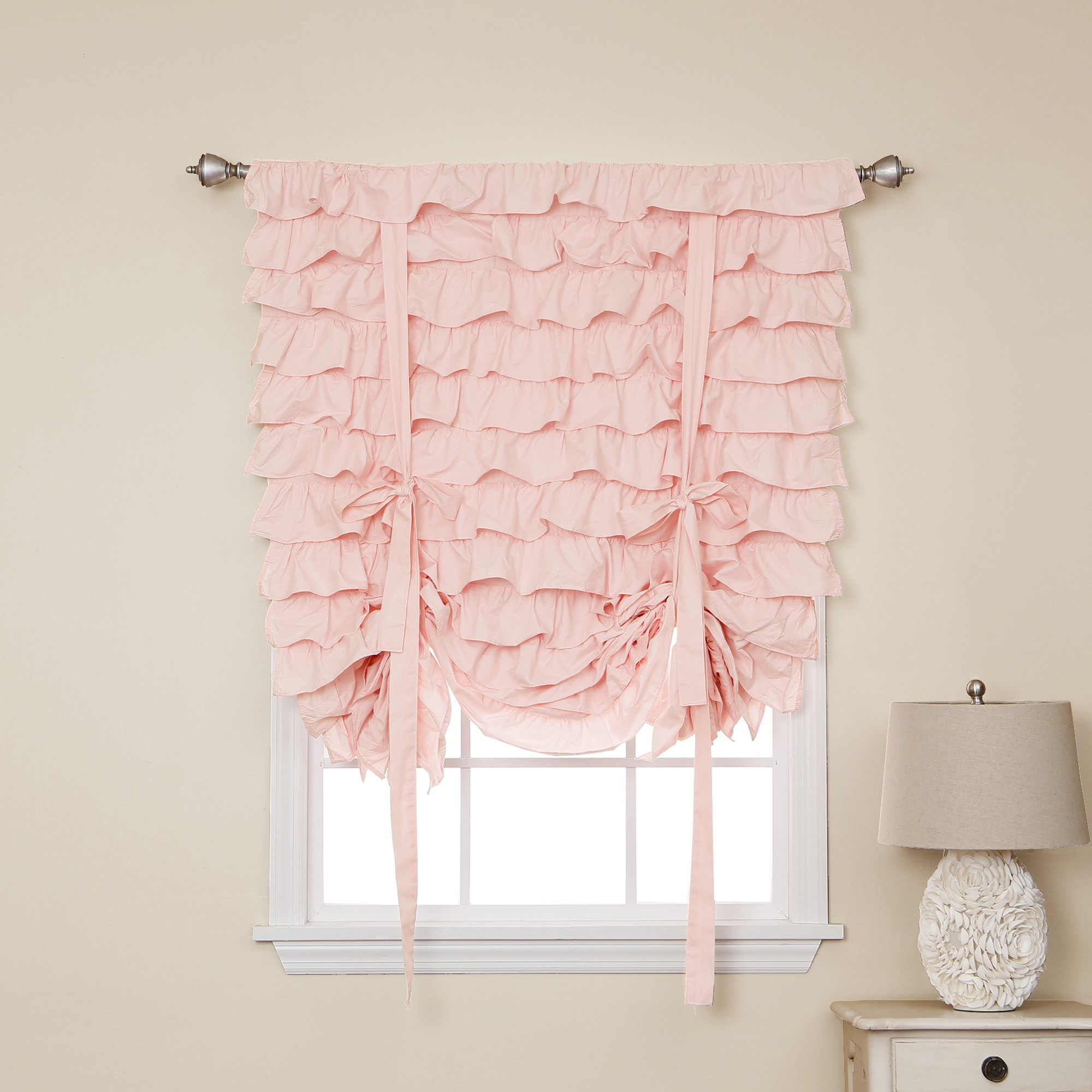 Pink and Navy Curtains | Ruffle Blackout Curtains | Ruffle Bedroom Curtains