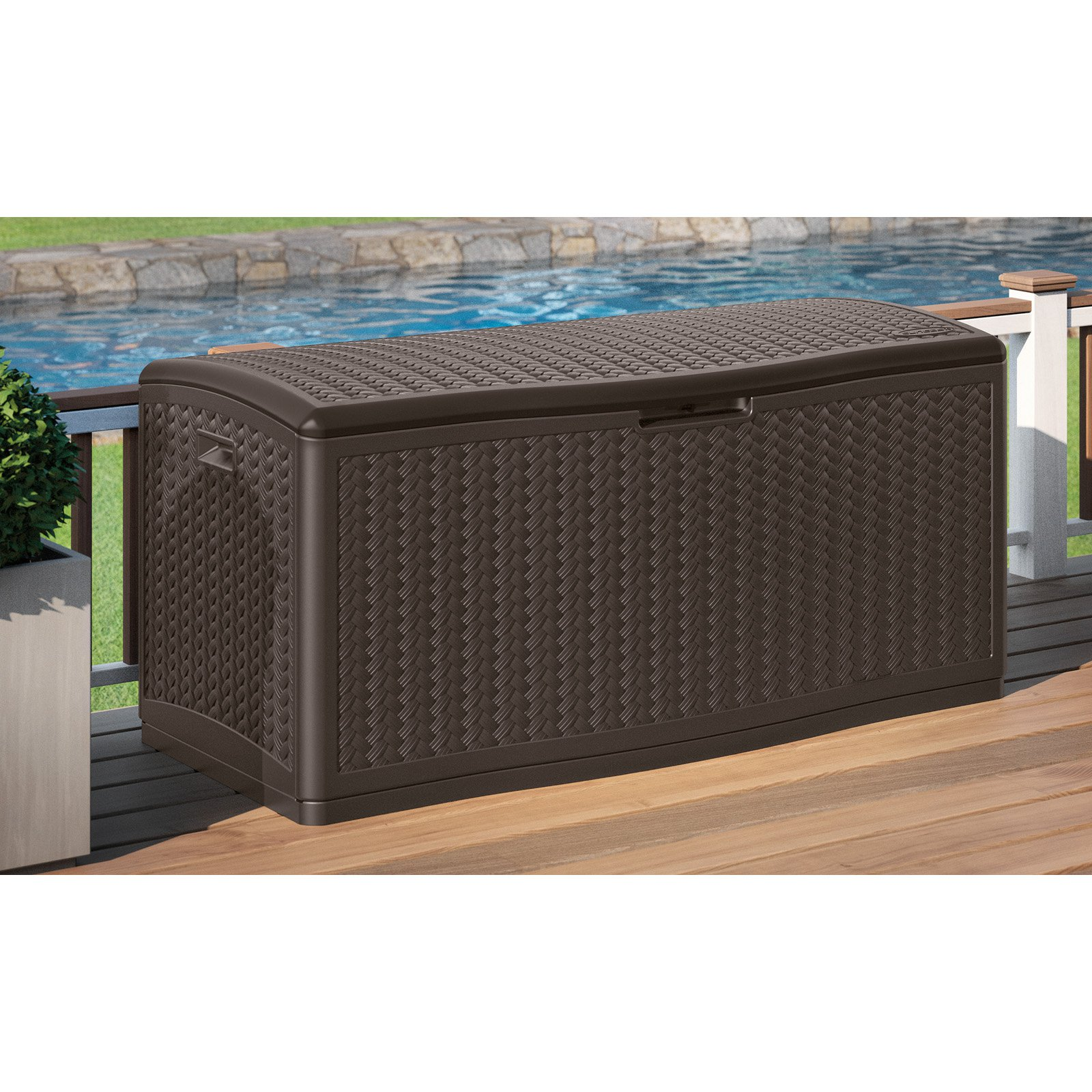 Pool Deck Boxes Storage | Keter 150 Gallon Deck Box | Keter Rockwood 150 Gallon Deck Box