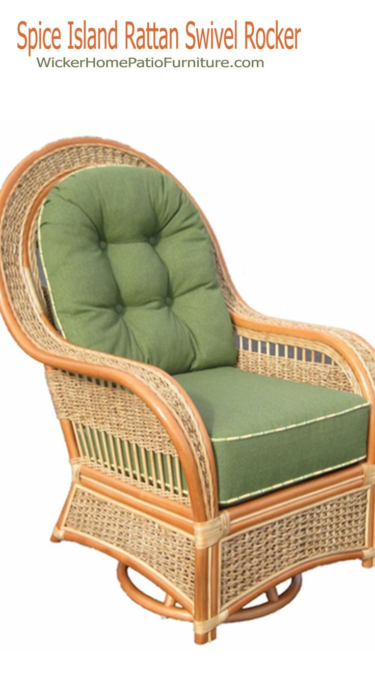 Rattan Swivel Rocker | Papasan Swivel Rocker Cushion | Wicker Porch Glider