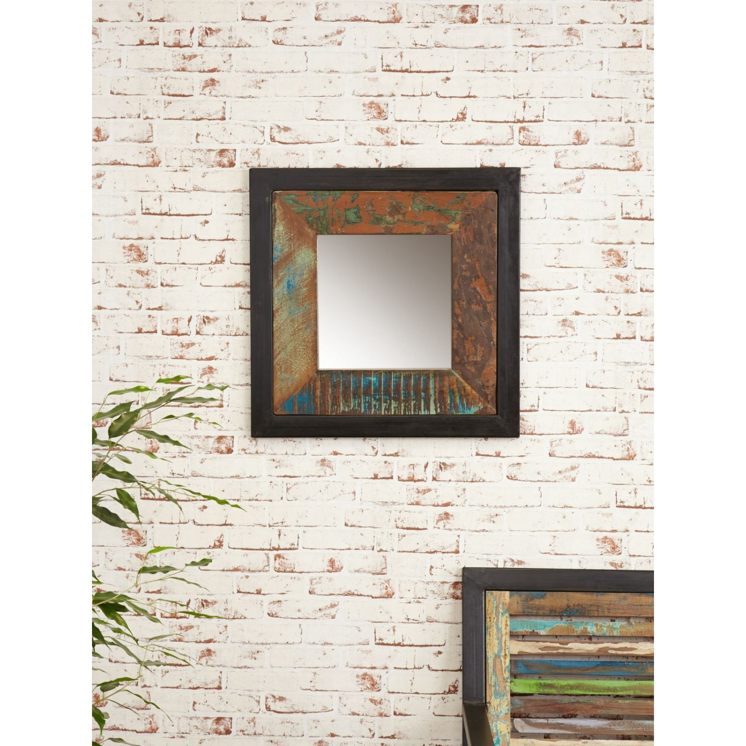 Reclaimed Wood Mirror | Mercury Glass Wall Mirror | Distressed Black Mirror