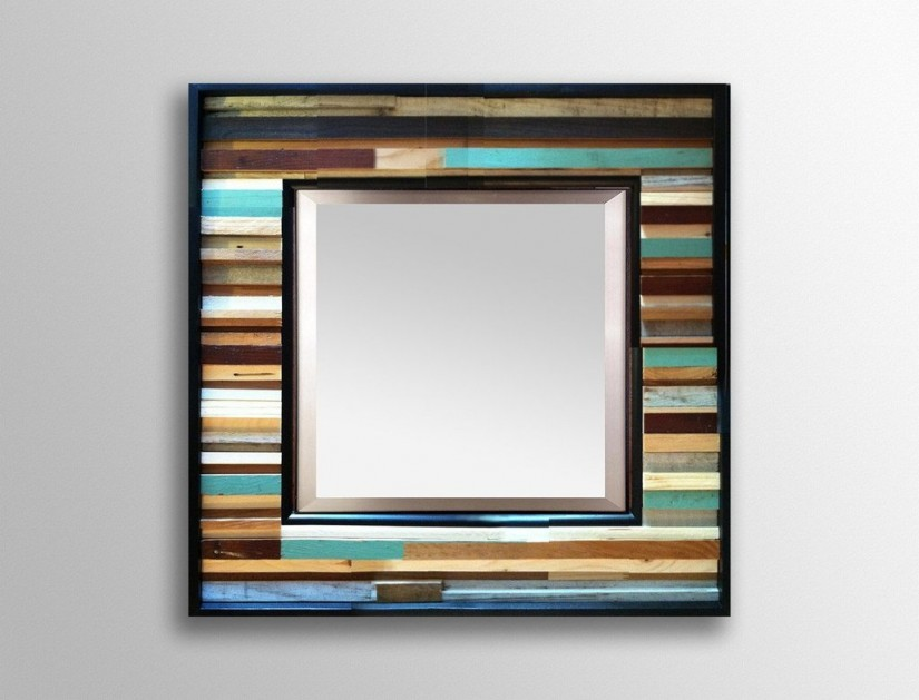 Reclaimed Wood Round Mirror | Round Metal Mirrors For Walls | Reclaimed Wood Mirror