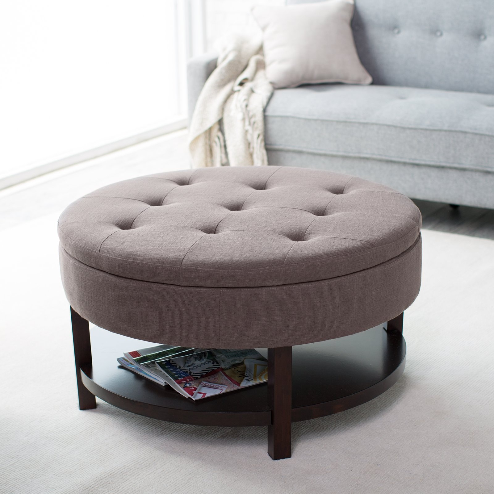 Round Coffee Table Ottoman | Large Ottoman Coffee Table | Upholstered Storage Ottoman Coffee Table