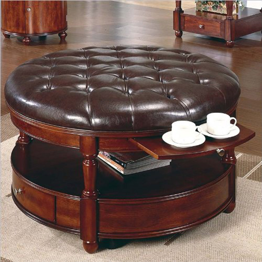 Round Leather Storage Ottoman Coffee Table | Large Ottoman Coffee Table | Large Upholstered Ottoman Coffee Table
