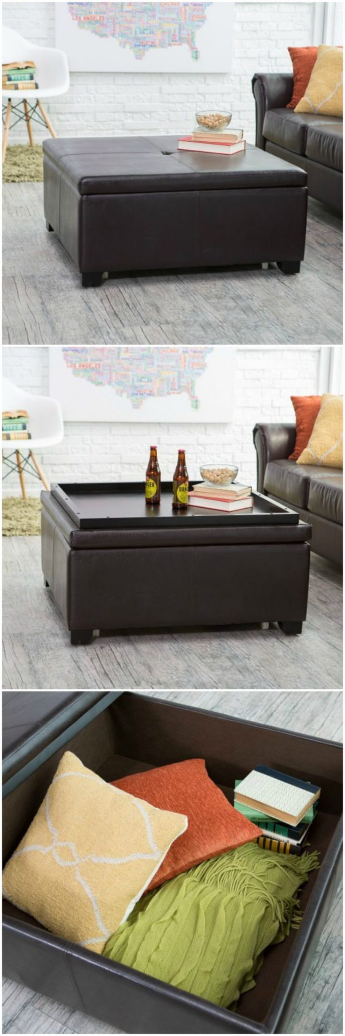 Round Ottoman Coffee Table with Storage | Ottomans as Coffee Table | Large Ottoman Coffee Table