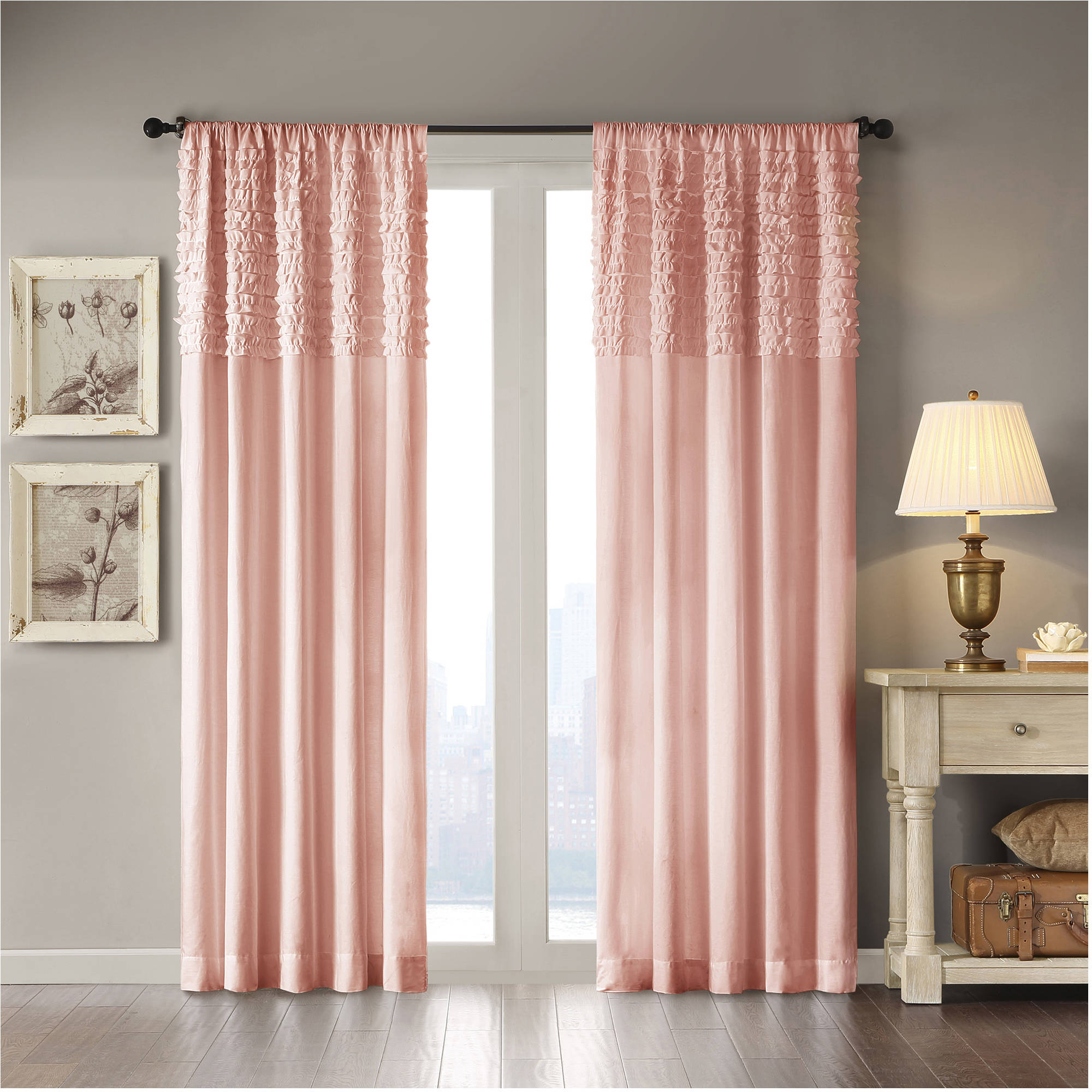 Ruffle Blackout Curtains | Coral Ruffle Curtains | White Ruffle Blackout Curtains