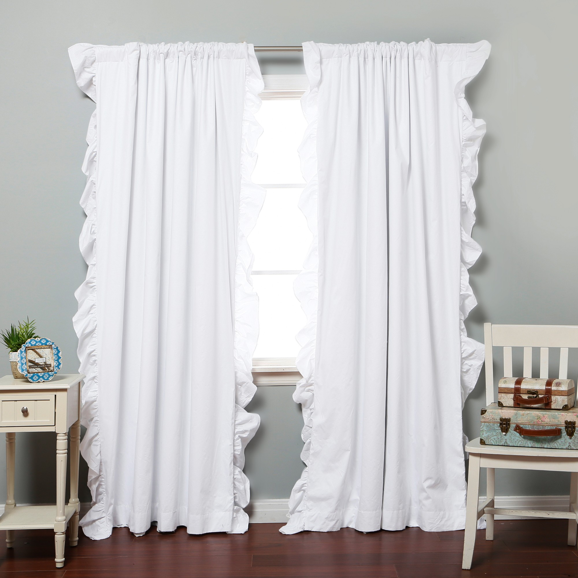Ruffle Blackout Curtains | Land of Nod Blackout Curtains | Ruffled Drapes