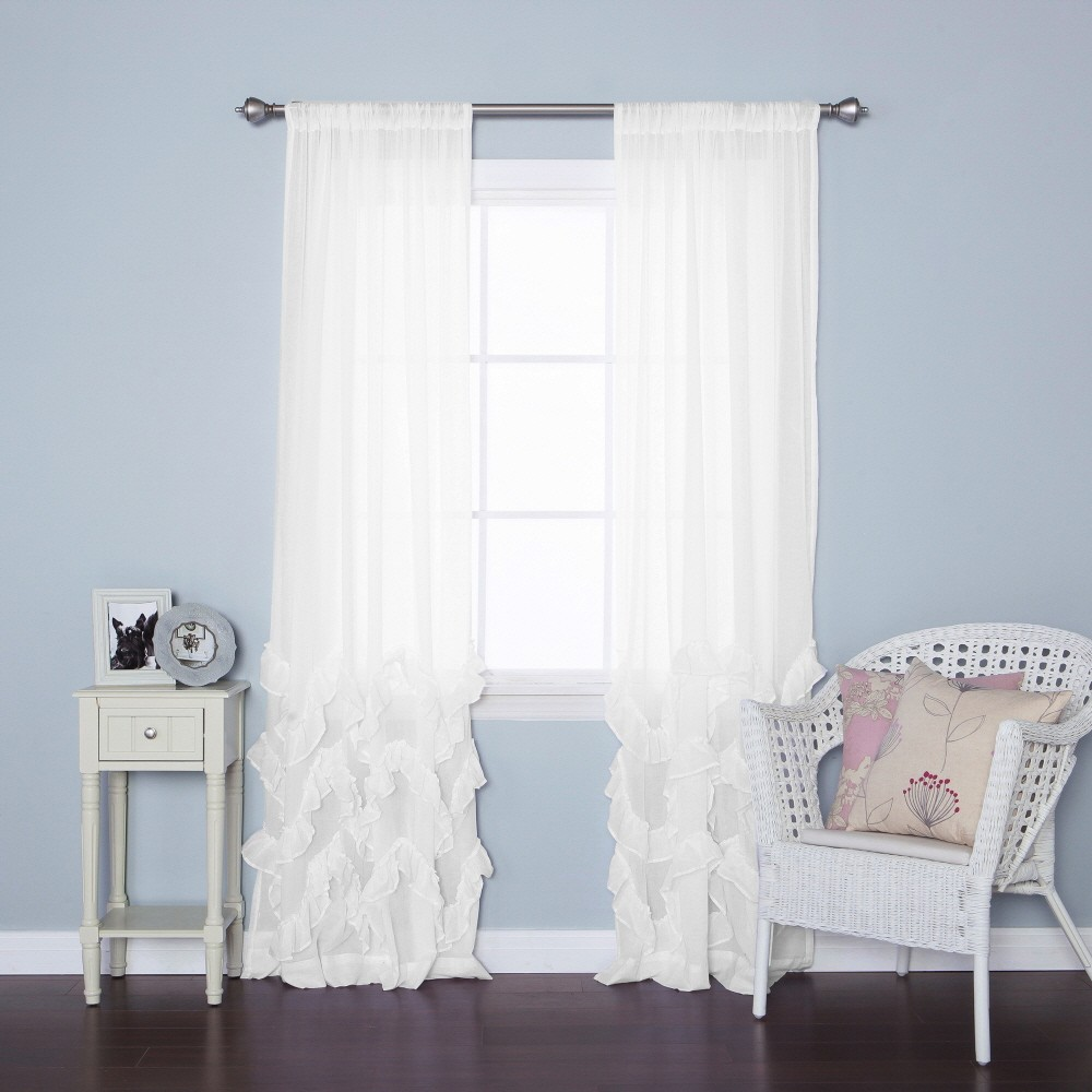 Ruffle Blackout Curtains | Pink and Navy Curtains | Land of Nod Blackout Curtains