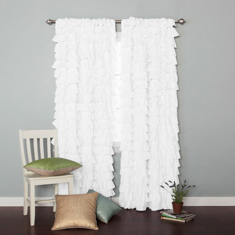Ruffle Blackout Curtains | Sheer Polka Dot Curtains | Ruffle Curtain Panels