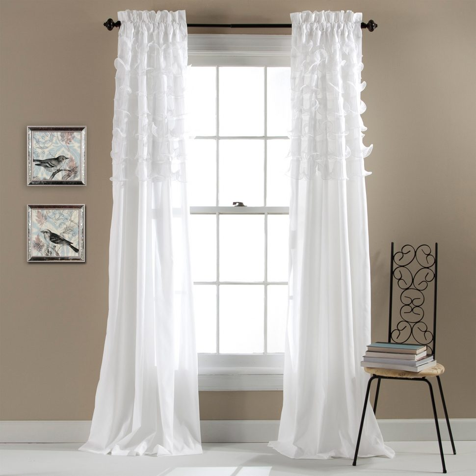 Ruffle Blackout Curtains | Sheer Polka Dot Curtains | Ruffled Drapes