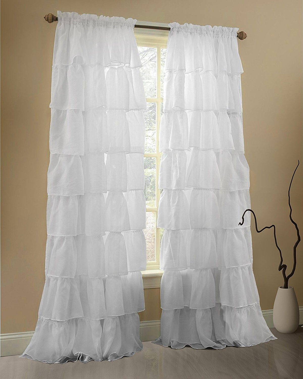Ruffle Blackout Curtains | Turquoise Ruffle Curtains | Blackout Curtains for Nursery