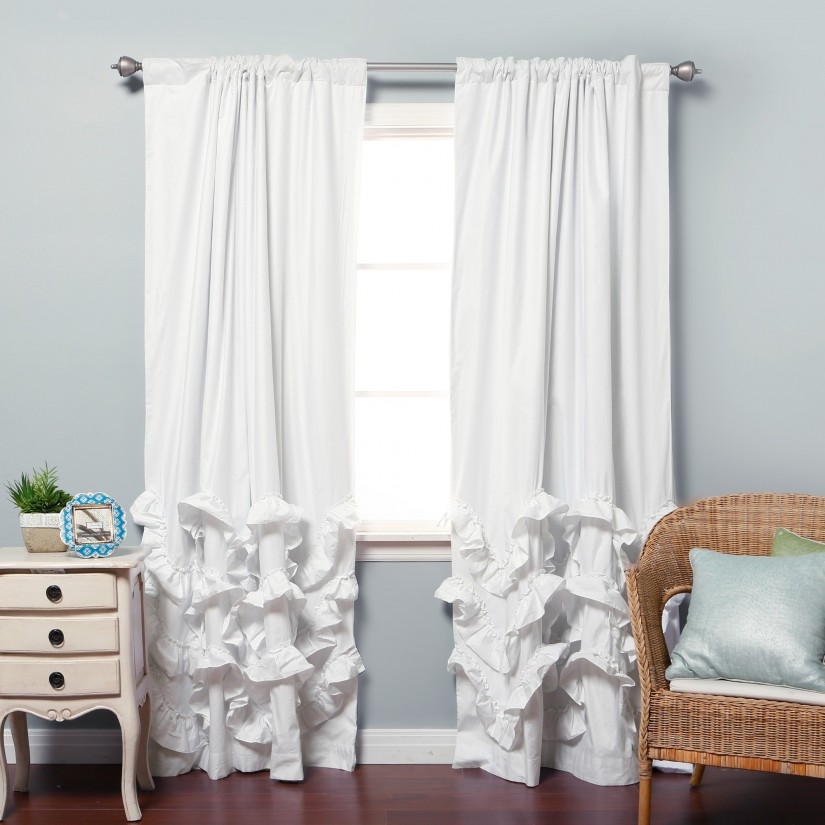 Ruffle Blackout Curtains | White Ruffle Curtain Panel | Blackout Curtains For Girls Room