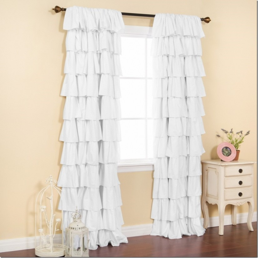 Ruffle Panel Curtains   Blackout Drapes For Nursery   Ruffle Blackout Curtains