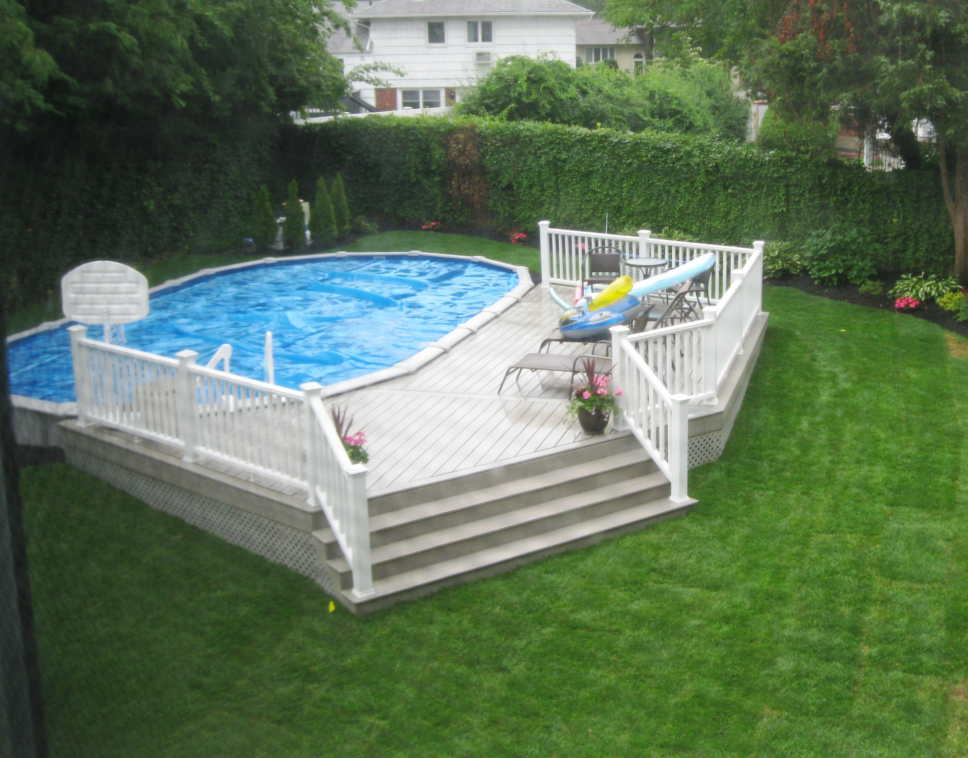 Semi Inground Pool Ideas | Inground Above Ground Swimming Pools | Half Inground Pool