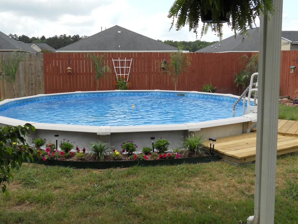 Semi Inground Pool Ideas | Semi Above Ground Swimming Pools | Above Ground Pools Half in Ground