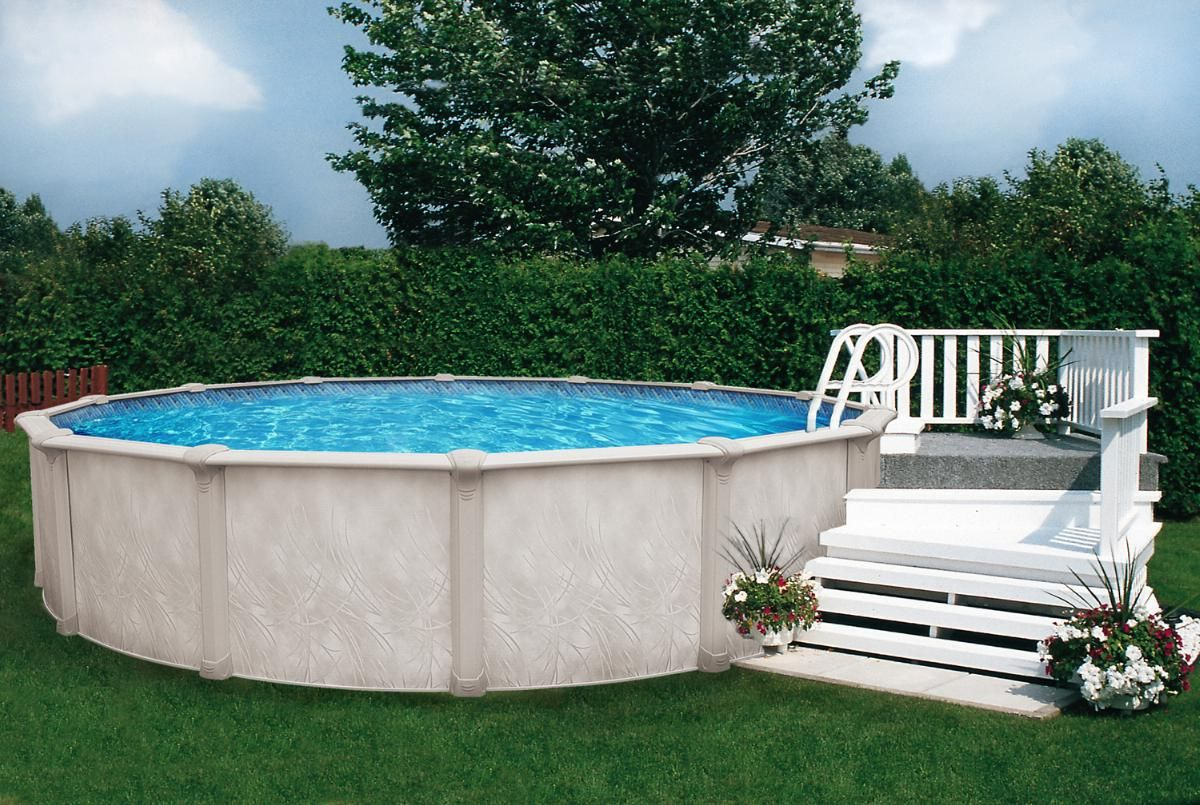 Ideas semi inground pool ideas for exciting backyard for Above ground pool decks for small yards