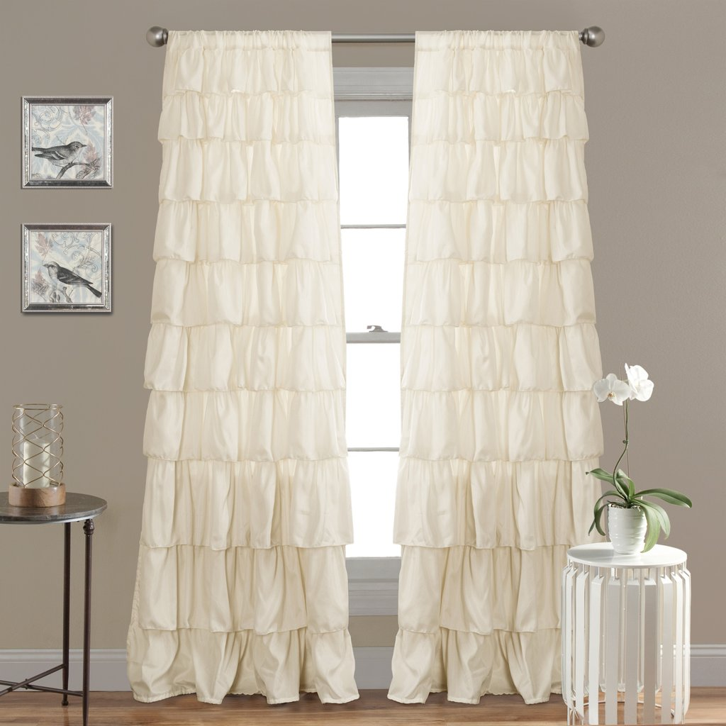 Sheer Ruffled Curtains | Pink Ruffle Blackout Curtains | Ruffle Blackout Curtains
