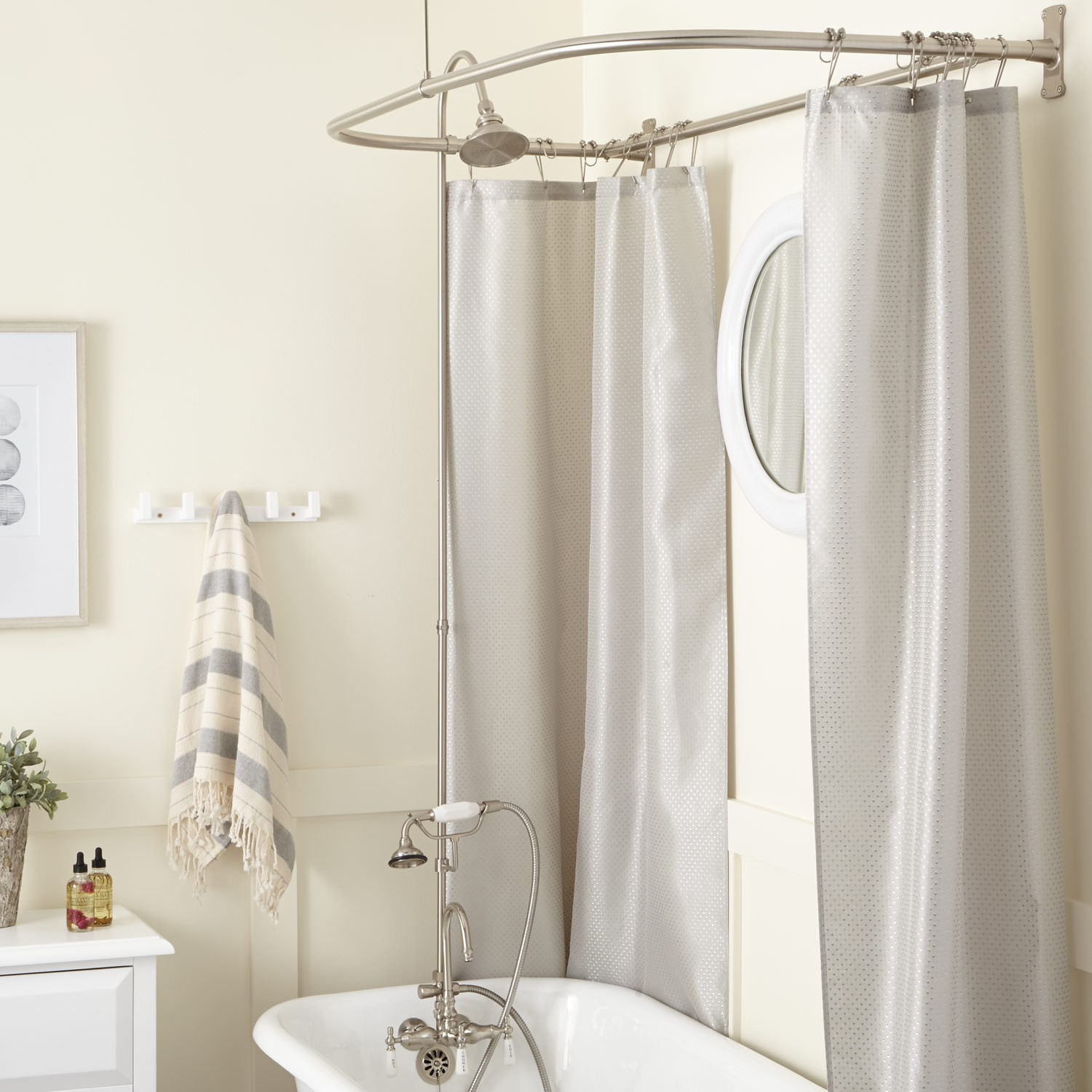 Shower Curtain Freestanding Bath | Extra Wide Shower Liner | Clawfoot Tub Shower Curtain