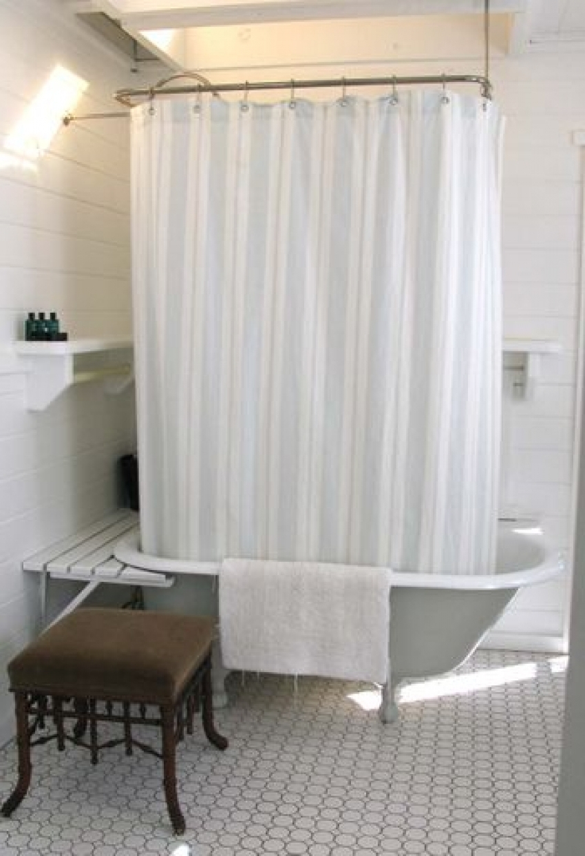 Shower Curtains for Clawfoot Tub | Clawfoot Tub Shower Curtain | Shower Rod for Freestanding Tub