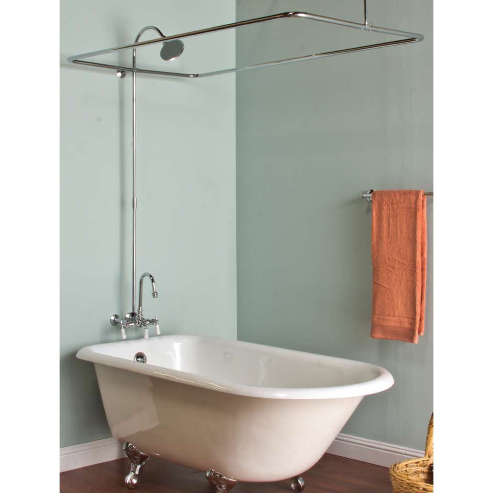 Shower Rod for Freestanding Tub | Tub Curtain Surround | Clawfoot Tub Shower Curtain