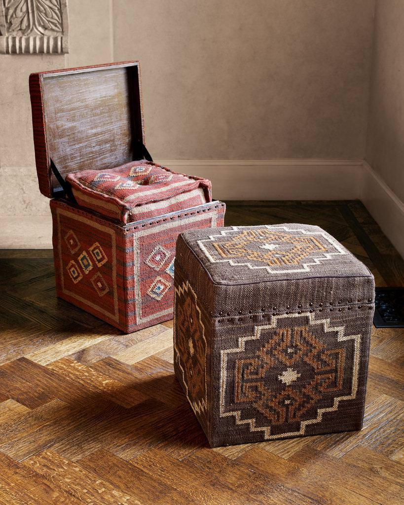 Small Footstools with Storage | Studded Storage Ottoman | Storage Cube Ottoman