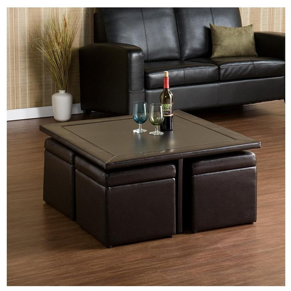 Storage Footstool Cube | Cube Ottoman with Tray | Storage Cube Ottoman