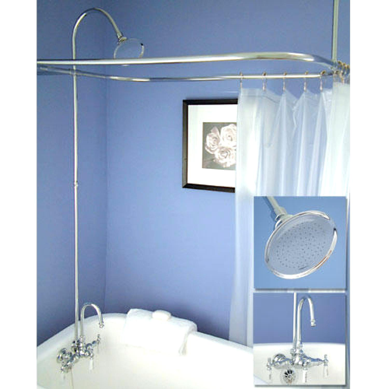 Surround Shower Curtain | Clawfoot Tub Shower Curtain | Clawfoot Tub Shower Liner