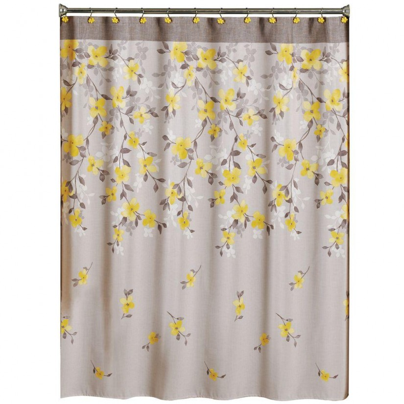White Flower Shower Curtain | Floral Shower Curtain | Lime Green Shower Curtains