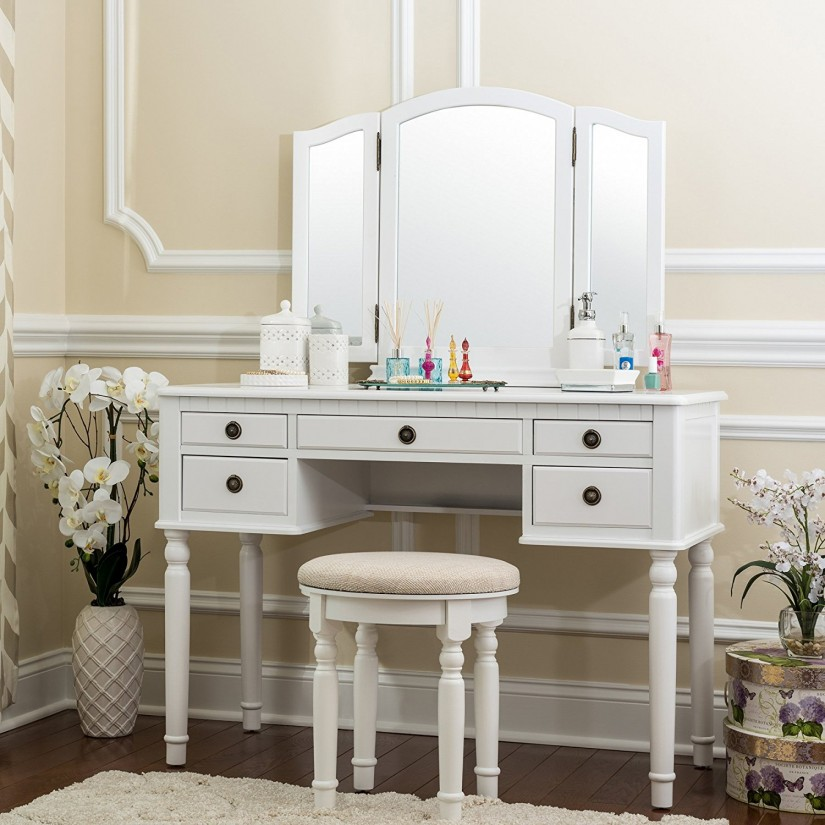 Bathroom Vanity Sets With Mirror | Mirrored Makeup Vanity Set | Mirrored Vanity Set