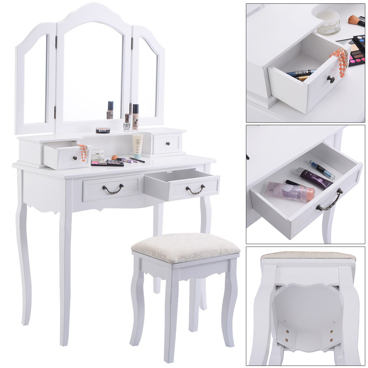 Bedroom Vanity Table with Drawers | Mirrored Vanity Set | Cheap Bedroom Vanity Sets