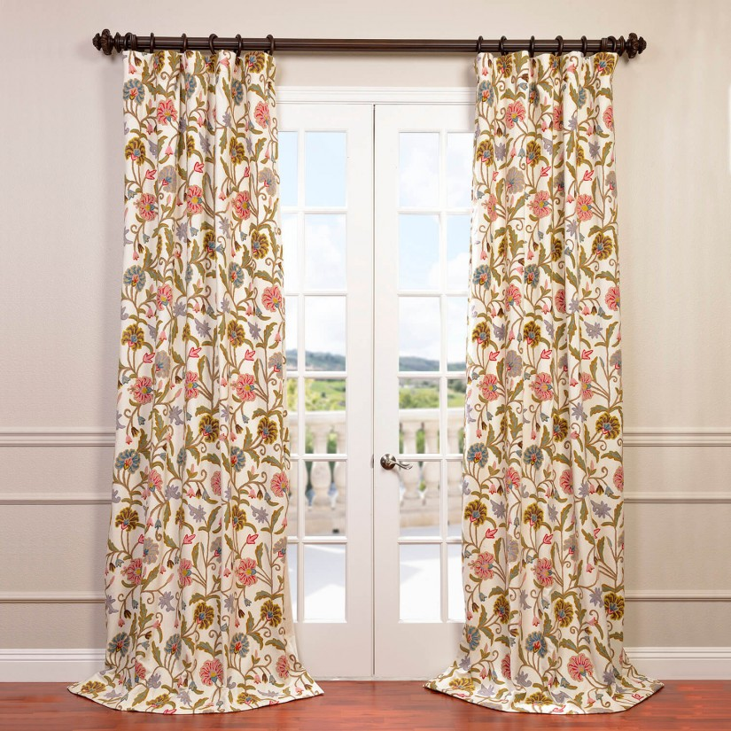 Bohemian Curtain | Embroidered Curtains | Green Ikat Curtains