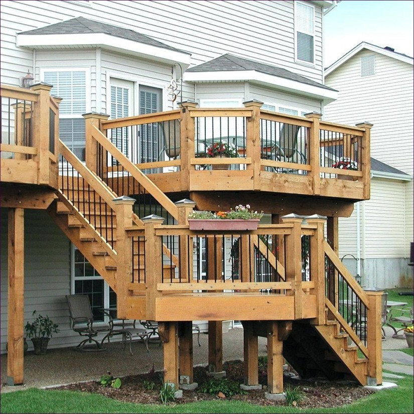 Build Deck Stairs With Landing | Build Deck Stairs | Decking Stair