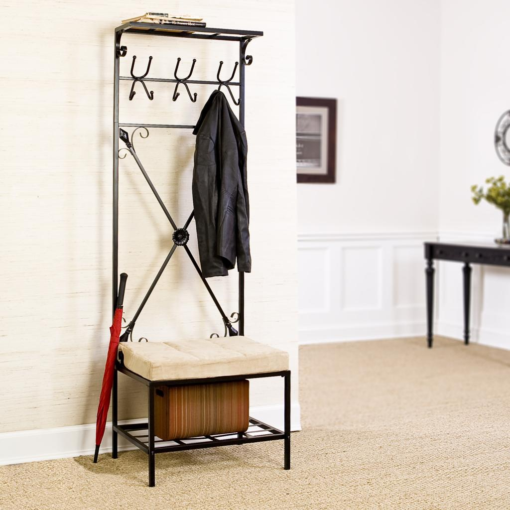 Coat and Shoe Storage Hallway | Hallway Bench with Coat Rack | Entryway Storage Bench with Coat Rack