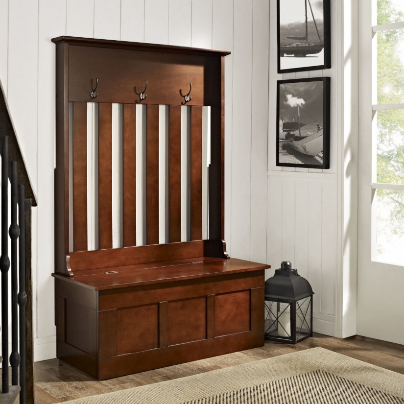 Coat Hanger Bench | Entryway Storage Bench With Coat Rack | Entrance Bench With Coat Rack