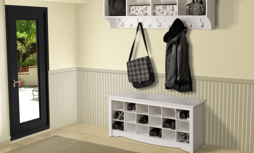Coat Rack Shoe Rack | Foyer Bench Coat Rack | Entryway Storage Bench With Coat Rack