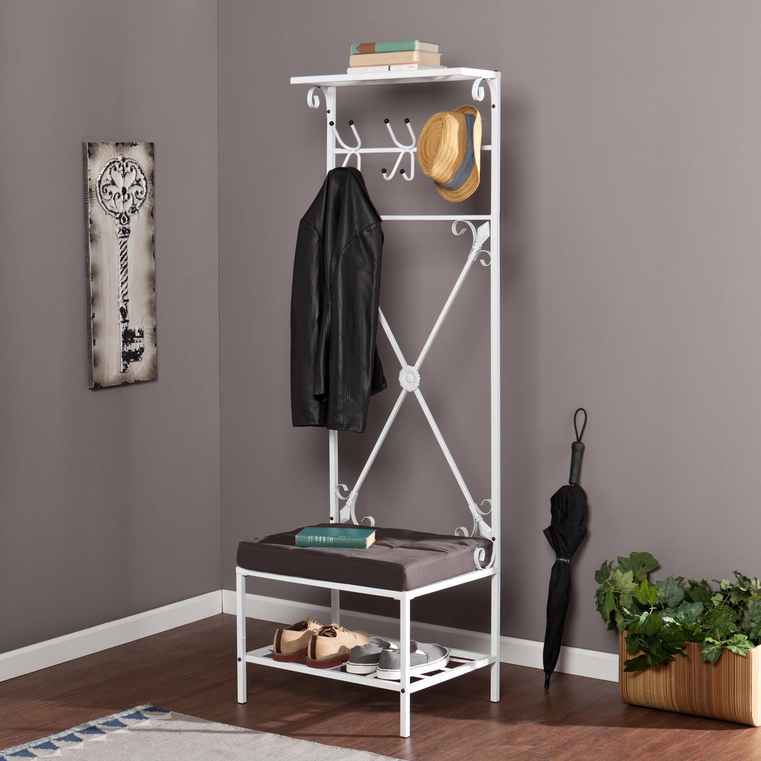 Coatrack Bench | Entryway Storage Bench with Coat Rack | Storage Bench with Coat Hooks