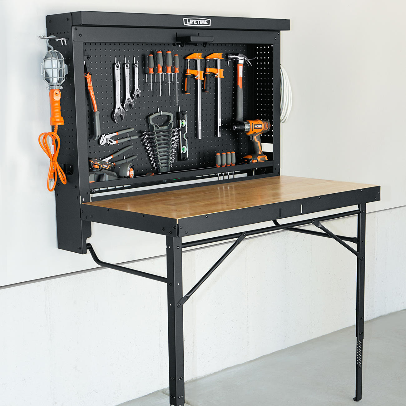 Wall Mounted Folding Workbench for Exciting Workspace Furniture Ideas: Collapsible Work Bench | Hinged Workbench | Wall Mounted Folding Workbench