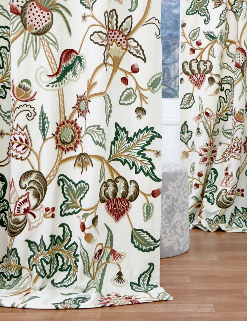 Coral Ruffle Curtains | Fringed Curtains | Embroidered Curtains