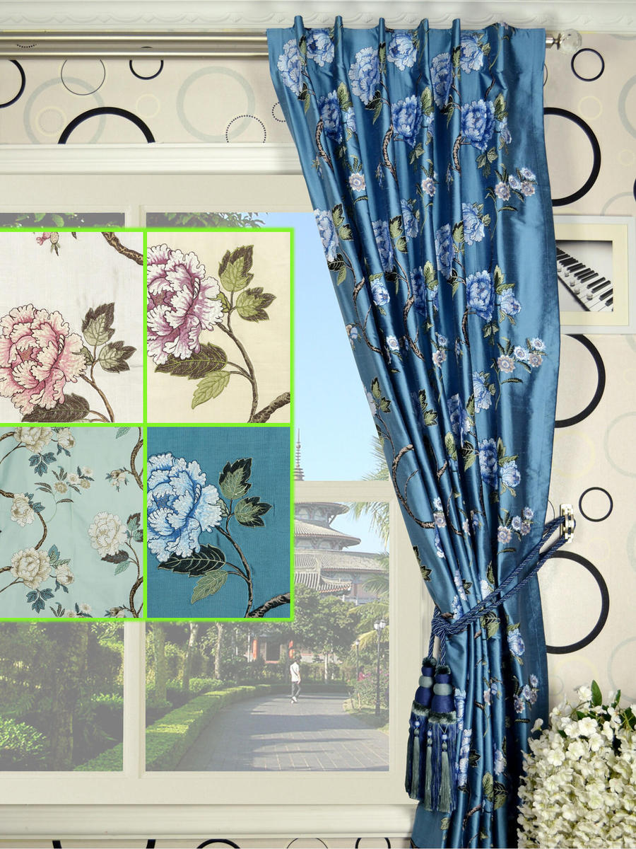 Cream Embroidered Curtains | Embroidered Curtains | Floral Embroidered Curtains