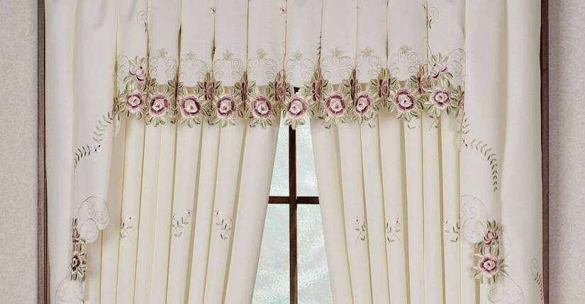 Crewel Curtain Fabric | Embroidered Curtains | Floral Embroidered Curtains
