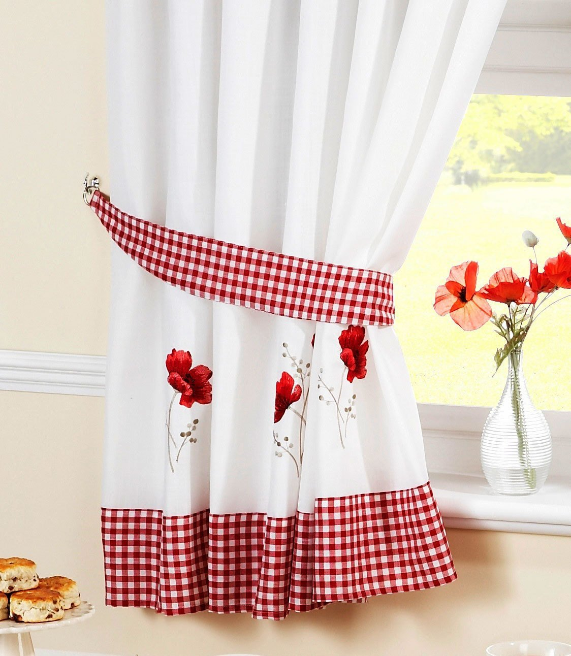 Crewel Curtain Fabric | Pom Pom Drapes | Embroidered Curtains