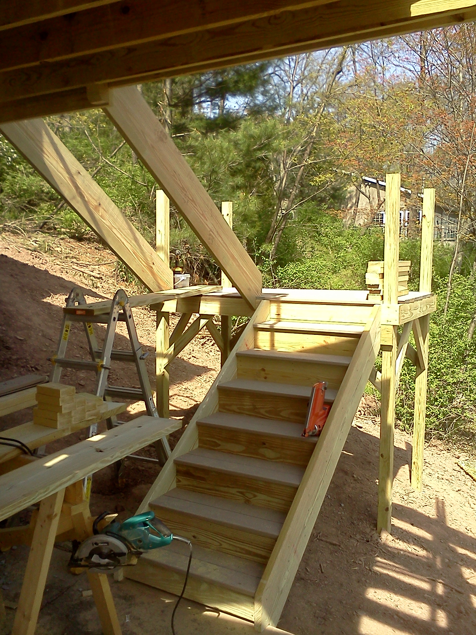 Decks Build Deck Stairs Make Stair Stringer 2 Step Riser