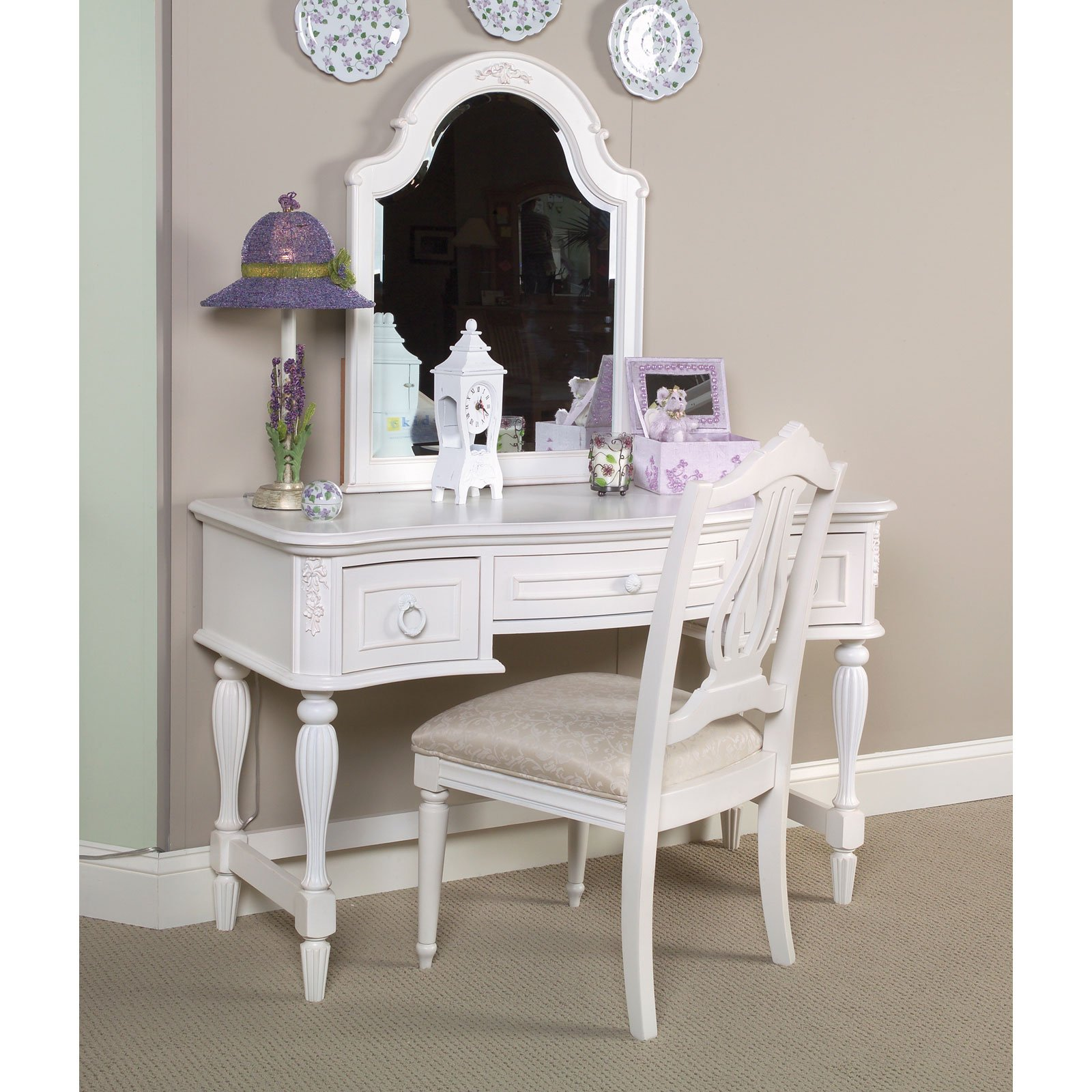 Mirrors: Mirrored Vanity Set For Elegant Bedroom Furniture Design ...