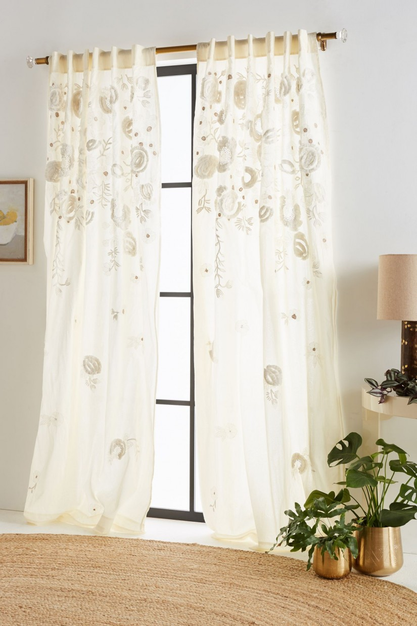 Embroidered Curtains | Anthropologie Curtains | Green Ikat Curtains