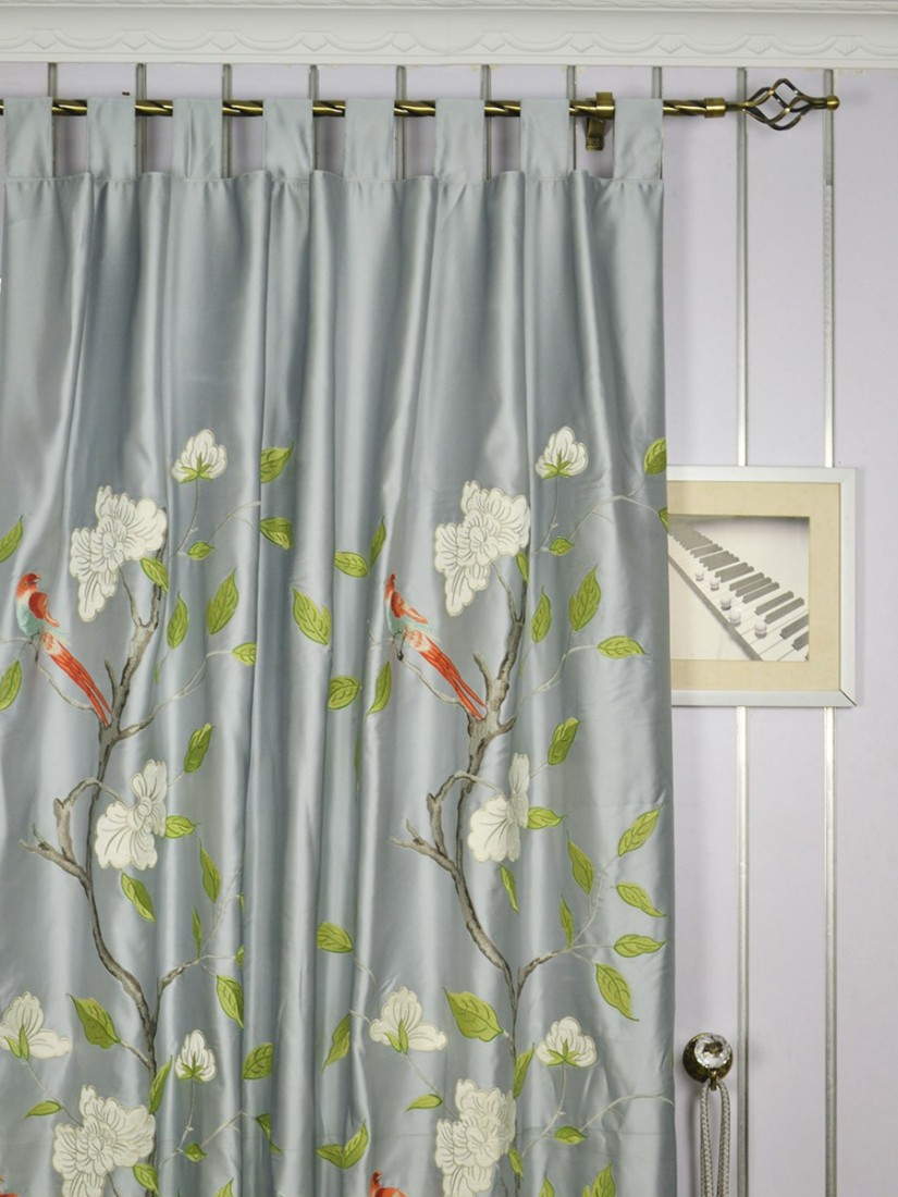Embroidered Curtains | Boho Window Curtains | Green Ikat Curtains