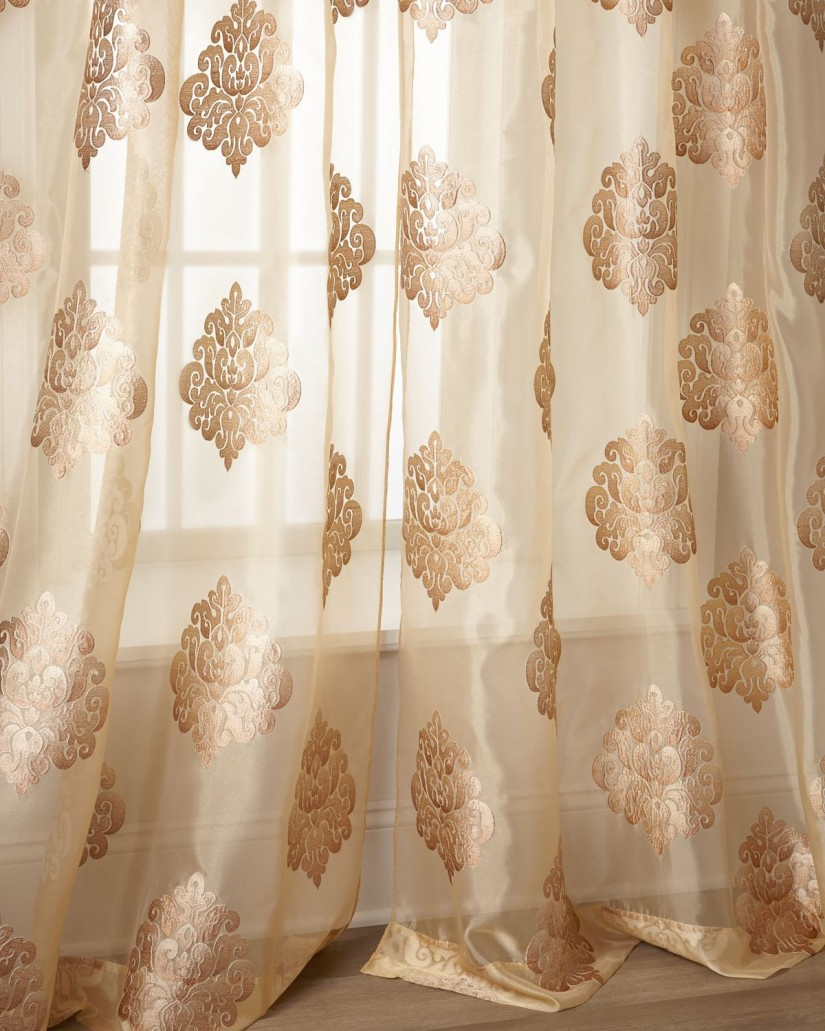 Embroidered Silk Curtain Fabric | Raspberry Striped Curtains | Embroidered Curtains