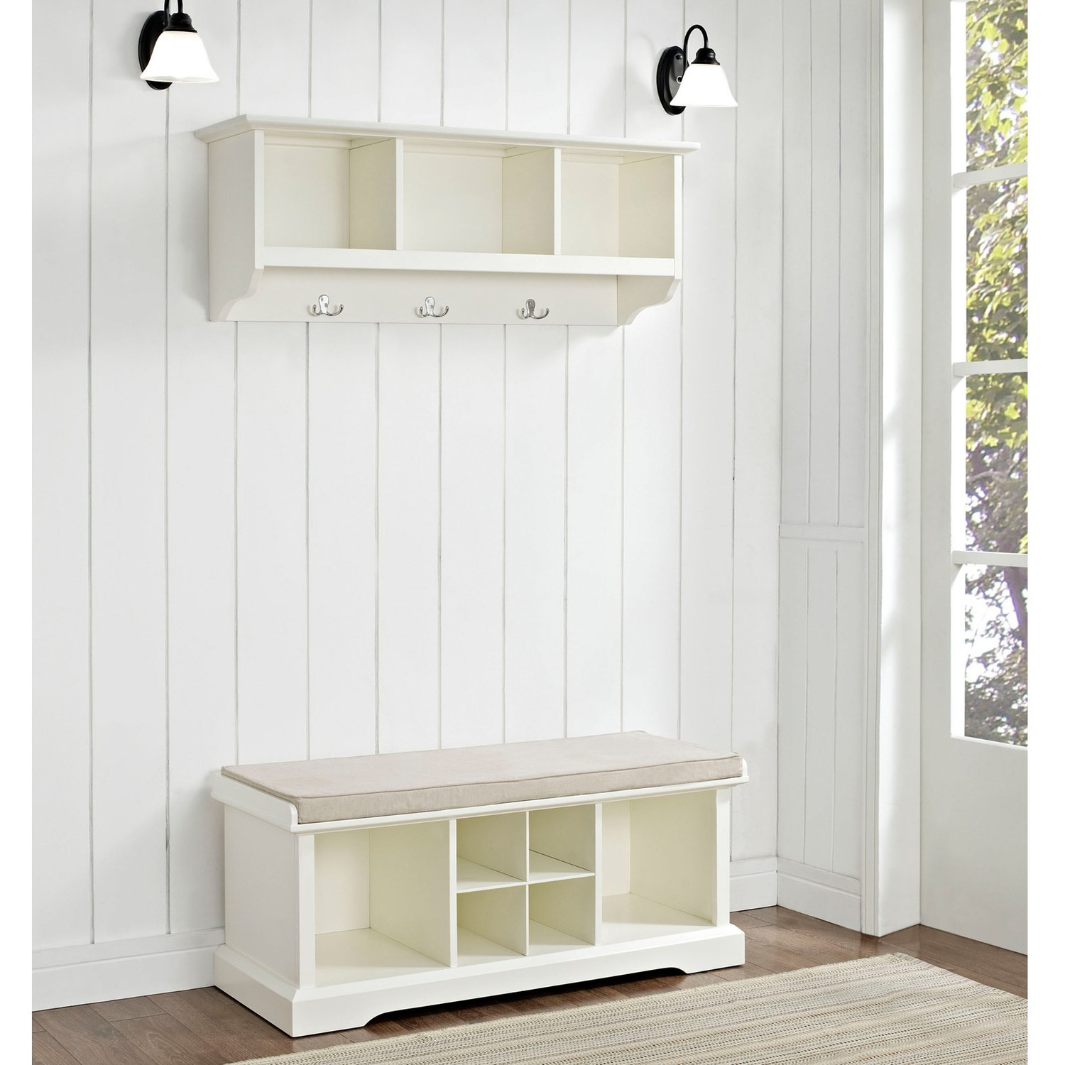 Entryway Bench and Storage Shelf with Hooks | Entryway Storage Bench with Coat Rack | Bench with Coat Hooks