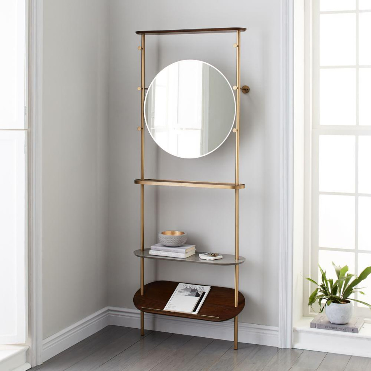 Entryway Mirror | Coat Rack with Mirror and Shelf | Entranceway Furniture
