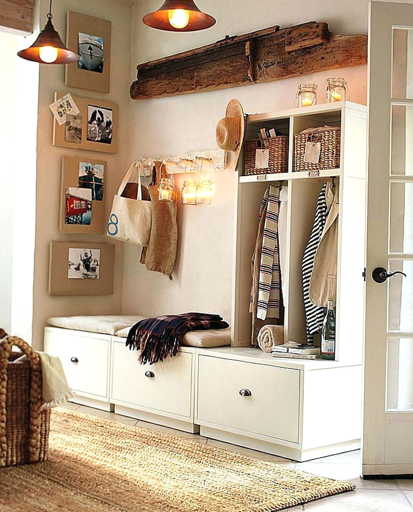 Entryway Shoe Storage Bench and Wall Mount Hutch | Foyer Benches with Coat Racks | Entryway Storage Bench with Coat Rack