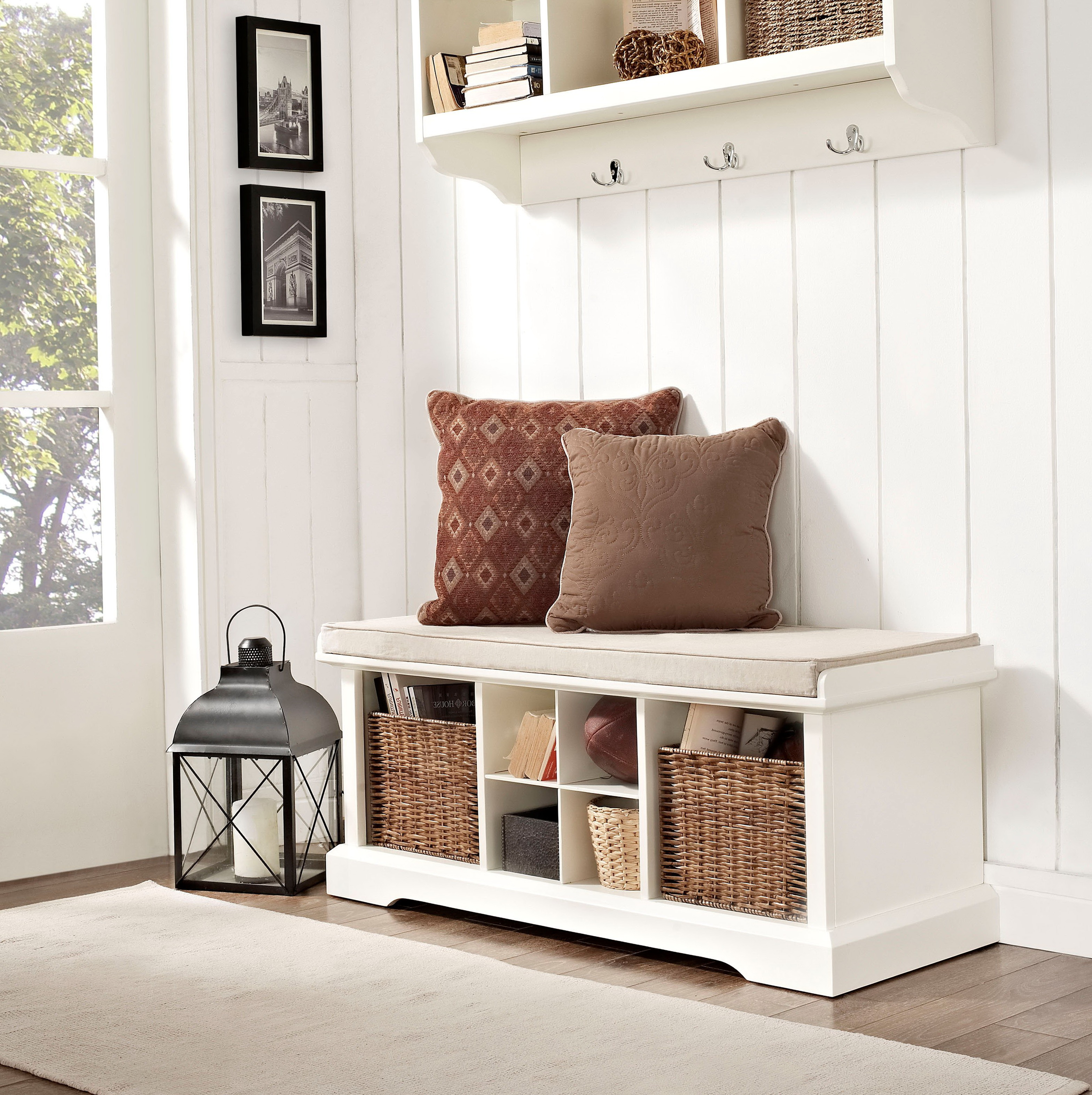 Entryway Storage Bench with Coat Rack | Coat and Boot Rack | Foyer Coat Rack Bench